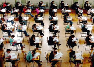 Young people sitting exams