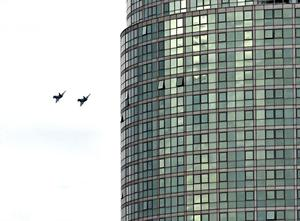 Two RAF Typhoon jets fly low over Belfast
