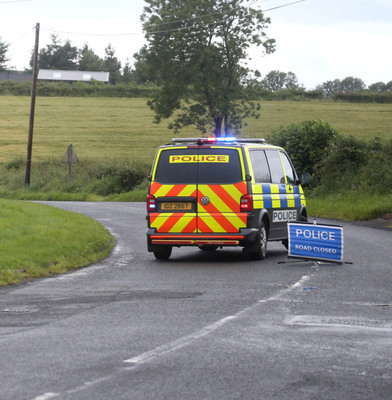 PSNI vehicle blocks the road to traffic near scene of fatal crash in Co Antrim