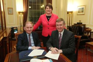 New First Minister Arlene Foster with new Social Development Minister Lord Morrow and Finance Minister Mervyn Storey