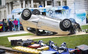 The simulated car crash in the grounds of City Hall yesterday morning highlighted the appalling consequences of dangerous driving