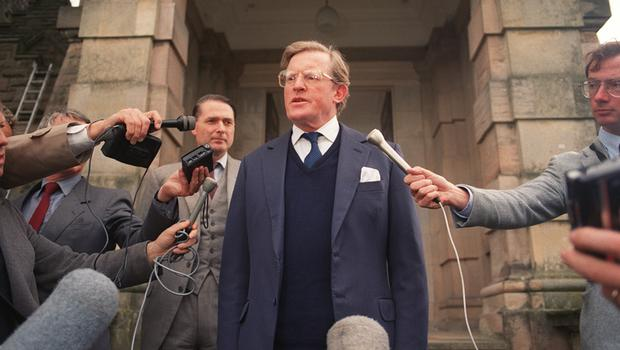 NI Secretary of State Tom King speaking on the steps of Stormont Castle after the Ballygawley bus bombing in August 1988