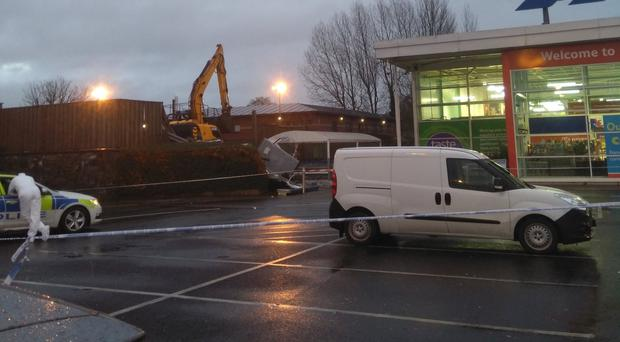 The scene of the ATM theft in Antrim (@PaulmichaelUUP/Twitter)