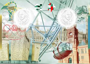 The Titanic Belfast building (bottom left) is depicted in the new travel document