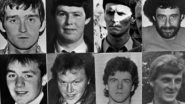 The IRA terror gang shot dead in Loughgall by the SAS in May 1987, clockwise from top left: Patrick McKearney, Tony Gormley, Jim Lynagh, Paddy Kelly, Eugene Kelly, Seamus Donnelly, Gerard O'Callaghan and Declan Arthurs