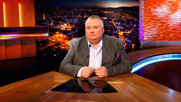 Presenter Stephen Nolan in the BBC studio