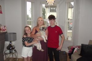 With her daughter Niamh, son Conan and dog Bella