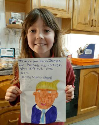Emily with the letter she sent to Boris Johnson