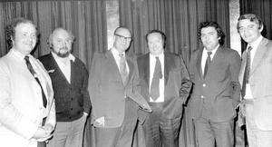Marking the fifth anniversary of the formation of the SDLP in 1975 were founder members Bob Cooper, Paddy O'Hanlon, Gerry Fitt, Paddy Devlin, John Hume and Austin Currie at the Russell Court Hotel in Belfast