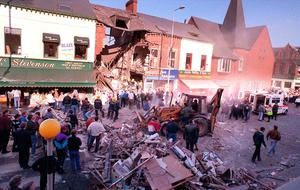 The aftermath of the Shankill bombing in which nine innocent people died