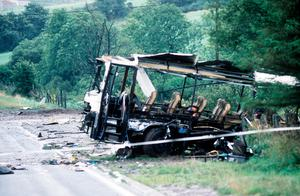 The scene of the Ballygawley bus bomb that killed eight soldiers