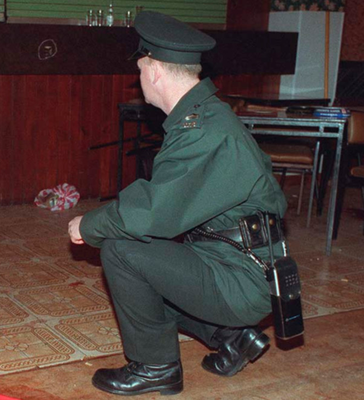 A police officer at the scene of the Greysteel massacre