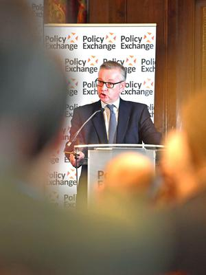 Michael Gove addressing a conference on London on unionism