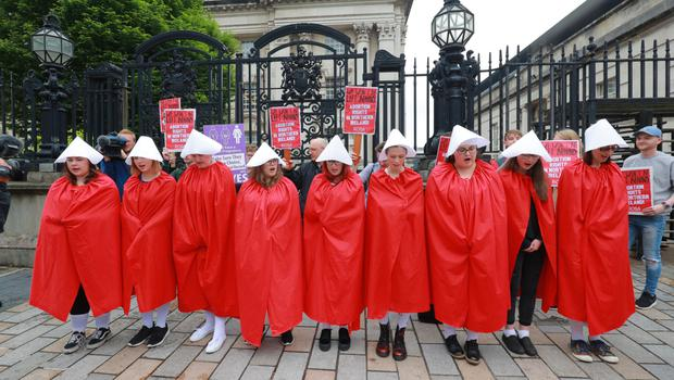 Pro-choice protesters outside Laganside courts yesterday