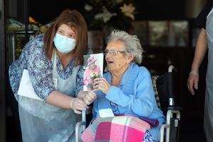 Ethel Sinclair celebrates her 100th birthday at Bradley Manor Nursing Home with manager Dawn Foreman