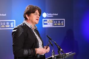 First Minister Arlene Foster at Stormont yesterday