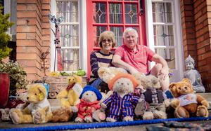 Morris and Jenny Corrin at their east Belfast home with just a few of their 60 teddy bears