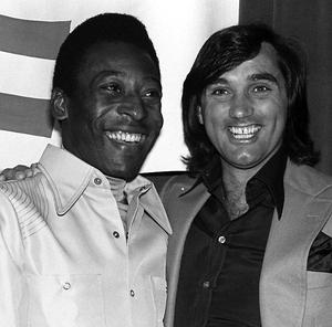 Former soccer stars Manchester United and Northern Ireland star George Best, right, and Brazil's Pele, smile during an awards luncheon for Pele in Los Angeles in this April 1978 file photo. )