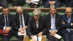 MANDATORY CREDIT: UK Parliament/Mark Duffy. UK Parliament handout photo of Prime Minister Theresa May during Prime Minister's Questions in the House of Commons, London.