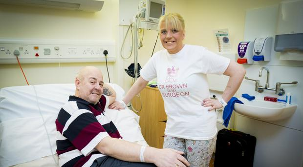 Sharon Traynor and her ex-husband Peter before their operations at Belfast City Hospital