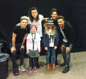 Molly Taylor (left) and her sister Ellie get to meet the band — Niall Horan, Harry Styles, Louis Tomlinson and Liam Payne — last night