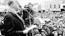 Lord Molyneaux addressing a rally in 1986