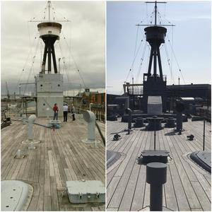 Before and after images following the refurbishment of HMS Caroline into a museum. (HMS Caroline/PA)