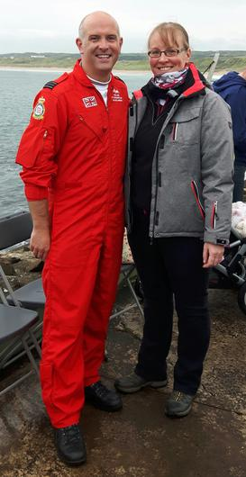 Donna Rowley with Mike Ling from the Red Arrows