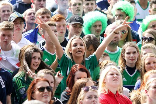 Emotions ran high at Titanic Quarter last night as thousands of Northern Ireland fans packed into the venue for the game against Germany