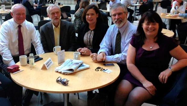 Jeremy Corbyn with Sinn Fein's Martin McGuinness, Gerry Adams, Mary Lou McDonald and Michelle Gildernew at Westminster
