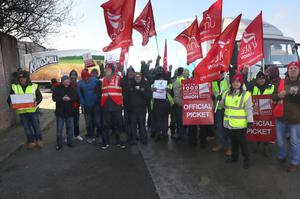 Bakery workers on strike in Belfast in a dispute over pay