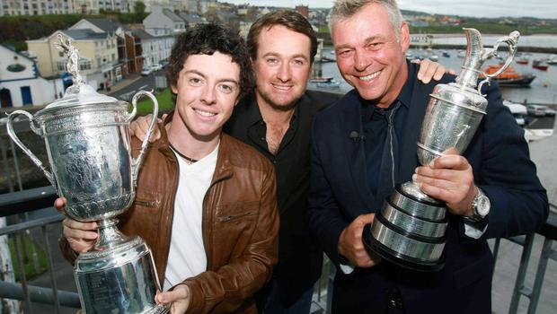 US Open champions Rory McIlroy and Graeme McDowell with Open winner Darren Clarke