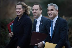 Work and Pensions Secretary Amber Rudd, Health and Social Care Secretary Matt Hancock and Brexit Secretary Stephen Barclay arrive in Downing Street for a Cabinet meeting (Stefan Rousseau/PA)