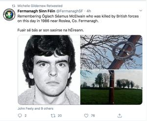 Michelle Gildernew retweeted the tribute to Seamus McElwain
