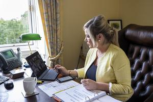 Behind the scenes at Stormont during the Covid pandemic with Deputy First Minister Michelle O'Neill in her office during a Zoom meeting with the Executive. PA Photo. Picture date: Monday June 08, 2020. See PA story HEALTH Coronavirus Ulster. Photo credit should read: Liam McBurney/PA Wire