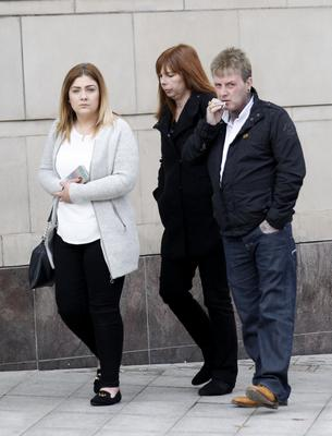 Ryan's mother Gwen Mills outside court yesterday with Lauren McLarnon and Ryan's father John Mills