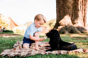 The prince with the family dog, Lupo, at Anmer Hall in Norfolk
