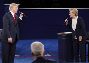 Opponents: Donald Trump and Hillary Clinton debating during the last US election