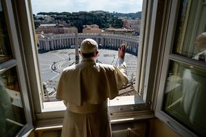 Pope Francis delivers his weekly address to an empty St Peter's Square