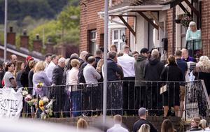 The funeral of murder victim Kieran Wylie taking place from his home in Lenadoon in west Belfast