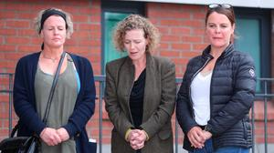 Noah Donohoe's aunt Shona, mum Fiona and aunt Niamh during a press conference on Wednesday on the search for the missing teenager