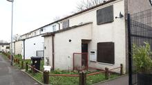 The now boarded-up house at Finch Gardens in Lisburn where Natasha Melendez was killed