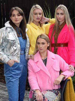Models Molly Jeffrey, Sophie McGribbon, Aimee Boyle and Philippa Boyd at the launch of Fashionweek 2019