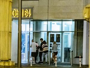 Police deal with parties in the Dream Apartments Obel 64 tower in Belfast