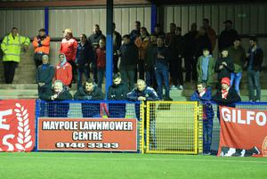 Portadown supporters at Ards on Tuesday night