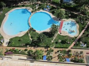 The hotel swimming complex at the resort in Benidorm
