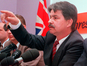 William 'Plum' Smith at the loyalist ceasefire announcement in 1994