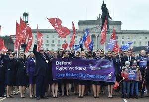 Flybe staff protesting at Stormont on Wednesday