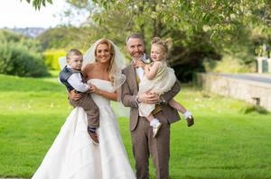 Bronagh with late husband Thomas and the twins on her wedding day