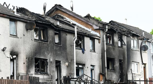 The scene of Saturday night's fire at Ballyfore Road in Ballyduff